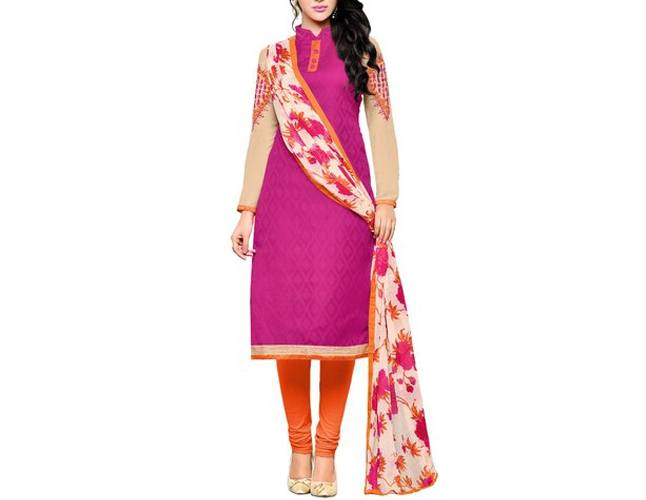 Abstract Print Collar Chudidar Party Wear Dress Material With Matching Dupatta