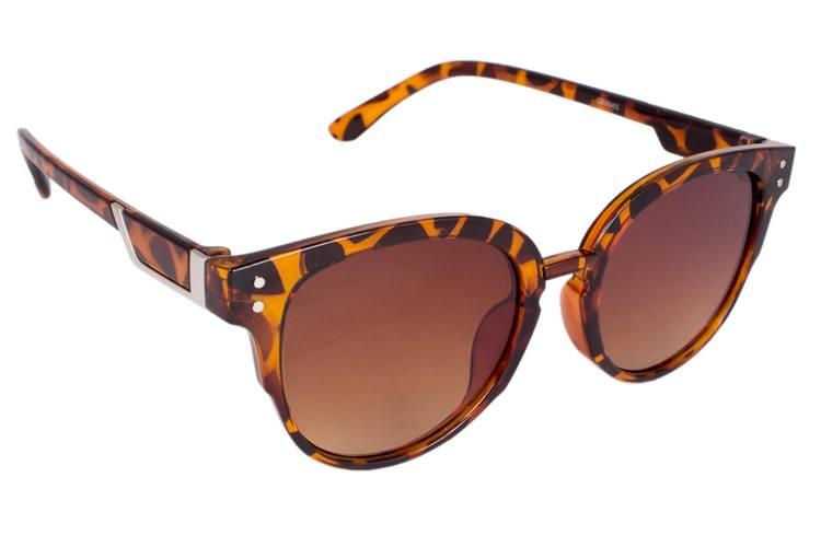 Addic Cat Eye Brown Leopard Stripes Frame Sunglasses For Women