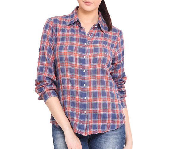Blue And Rust Checks Cotton Shirt