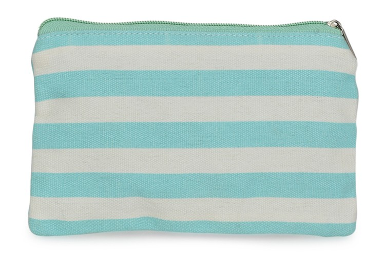 Blue And White Striped Coin Purse