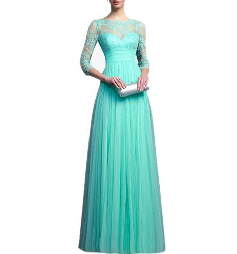 Blue Coloured Embroidered Maxi Dress