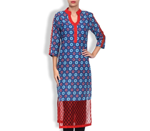 Blue Cotton Plain Three Quarter Sleeved Long Kurta