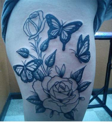 Butterfly tattoos on thigh for girls