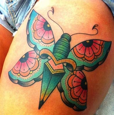 Butterfly tattoos on thigh for women