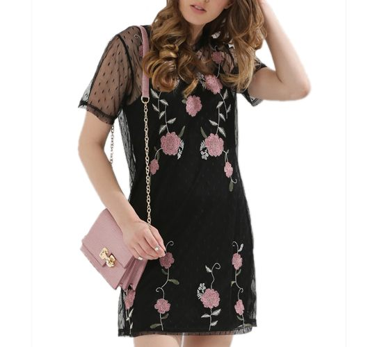 Embroidered Dobby Mesh Dress