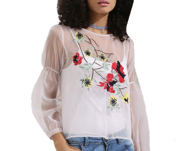 Flare Sleeve Sheer Top With Embroidery Detail