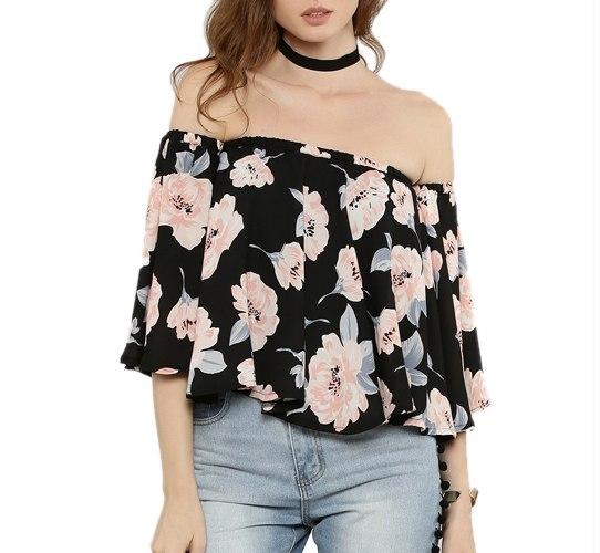 Floral Print Bardot Top