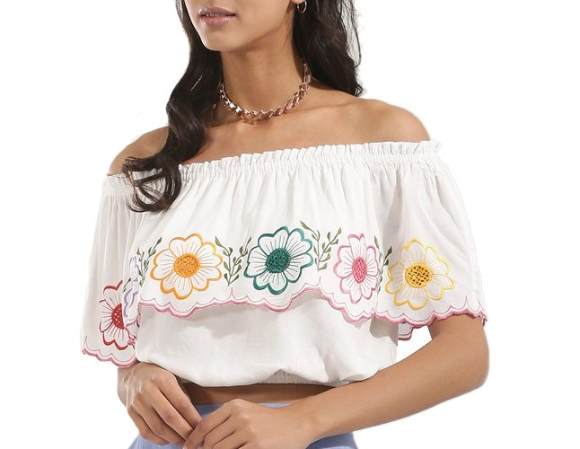 Flower Embroidered Cold Shoulder Top