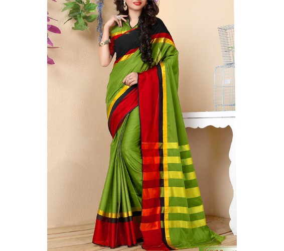Green Cotton Bordered Saree