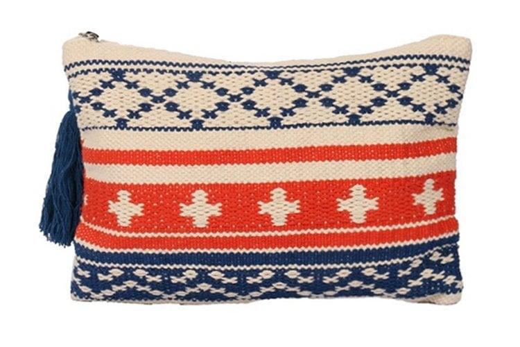 Multi Color, Cotton Pouch With Jacquard Design