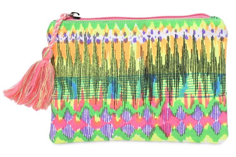 Multicolored Canvas Printed Pouch