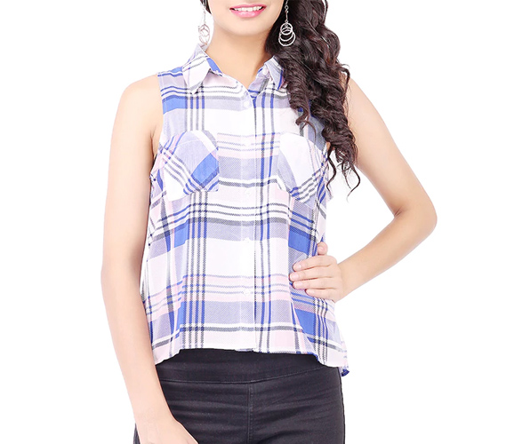 Multicolour Checks Printed Georgette Top
