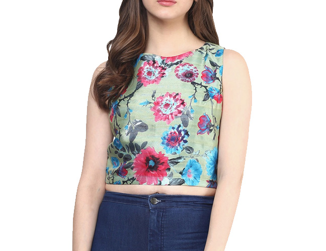Multicoloured Printed Crop Top