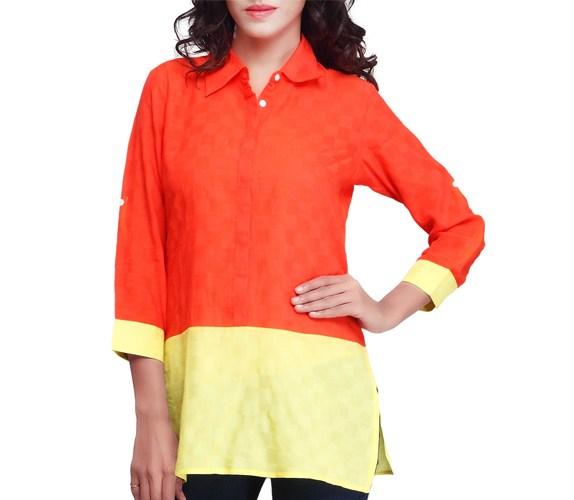 Orange & Yellow Colour Three Fourth Sleeves Kurti
