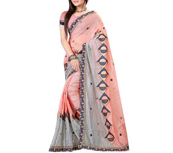 Peach Cotton Embroidered Saree