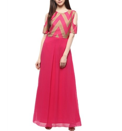 Pink Coloured Printed Maxi Dress