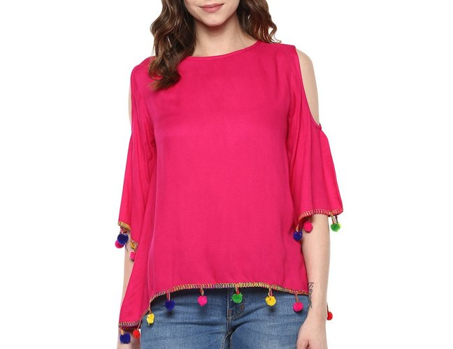 Pink Pom Pom Lace Cold Shoulder Top