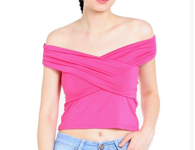 Pink Solid Crop Top