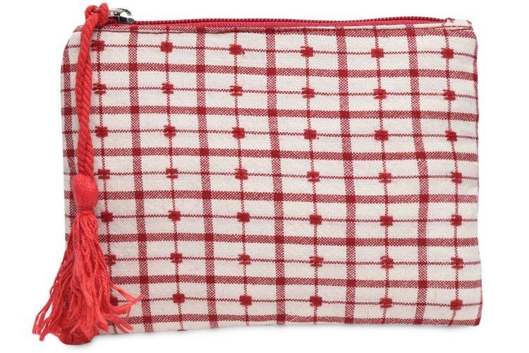 Red And White Check Pattern Cotton Pouch