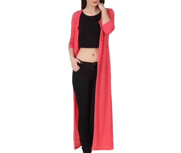 Red Self Design Full Sleeve Long Shrug