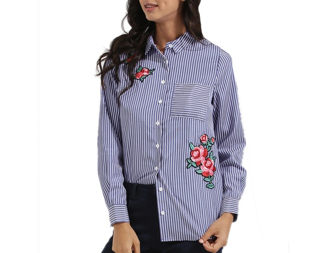 Rose Badge Stripe Shirt