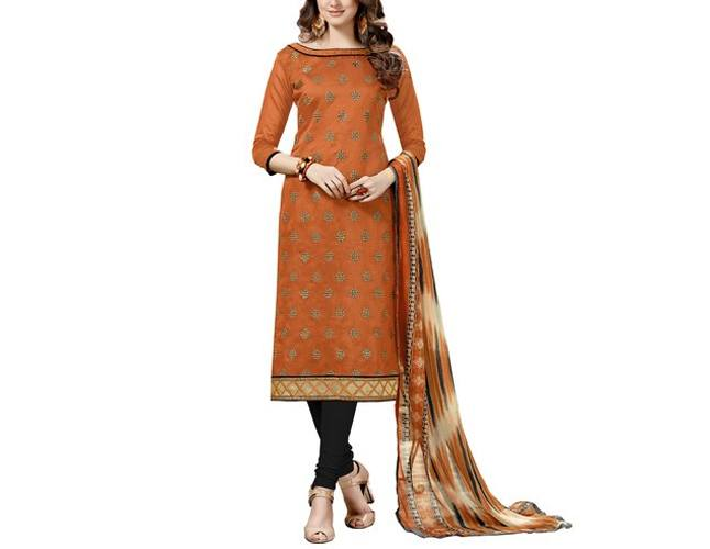Satrani Brown Embroidery,Border And Dress Material