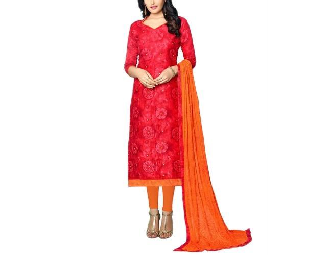 Satrani Red Printed And Dress Material