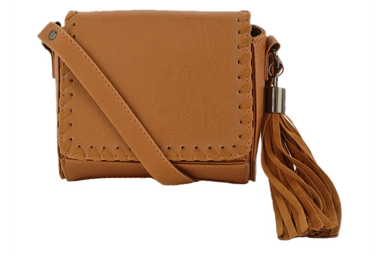 Whipstitch Detail Boxed Crossbody Bag