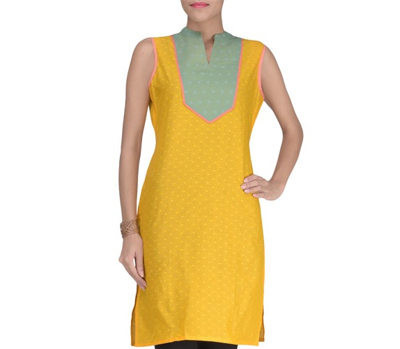 Yellow Cotton Blend Solids Kurta