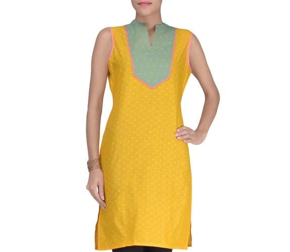 Yellow Cotton Blend Solids Kurta