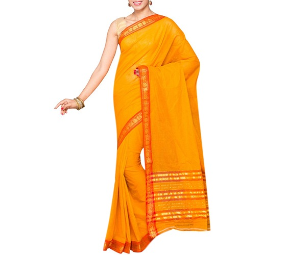 Yellow Cotton Bordered Saree