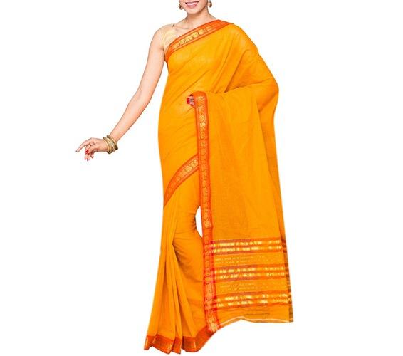 Yellow Cotton Bordered Saree