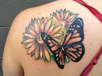 Butterfly And Flower Tattoos For Woman