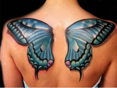 Butterfly back tattoos for woman