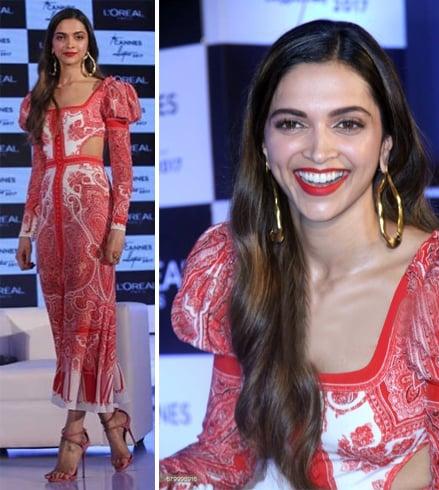 Deepika Padukone With Fashion Red Dress