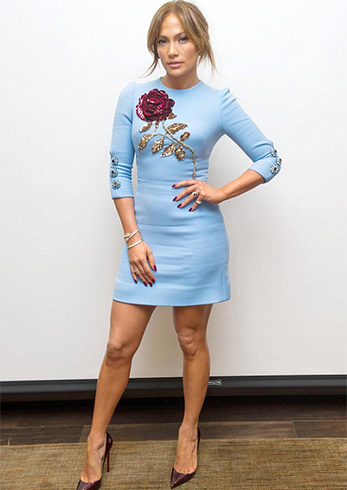 Jennifer Lopez in Embroidered Floral Dress