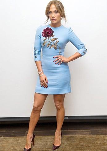 Jennifer Lopez in Embroidered Floral Dress