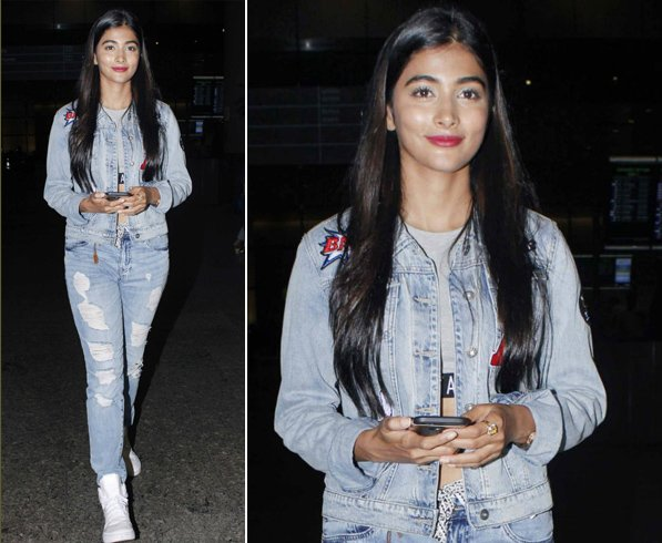 Pooja Hegde in Embroidered Denim Jacket