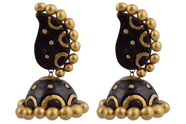 Avarna Terracotta Jhumki with Stud SJE0002 Multi-Colour