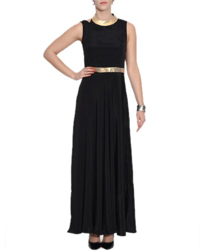 Black Crepe Sleeveless Maxi Dress