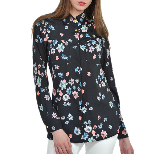 Black, Pink, Blue Crepe Shirt