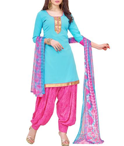 Blue Crepe Patiyala Suits Unstitched Suit