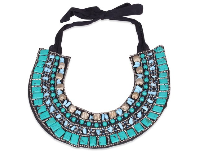 Blue Metal Heavy Statement Necklace