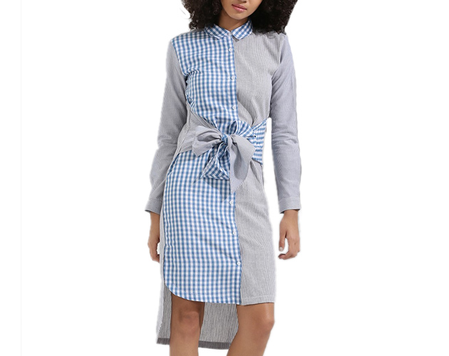 Cut About Stripe Tie Waist Shirt Dress