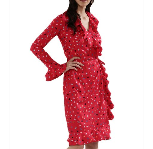 EXCLUSIVE PRINT Ruffle Wrap Midi Dress