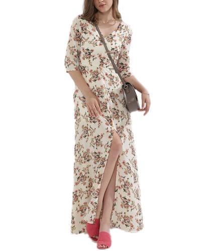 Floral Print Maxi Slit Dress