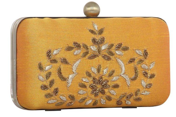 Golden Polyester Clutch