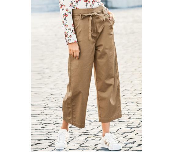 Khaki Tie Waist Gaucho Pants
