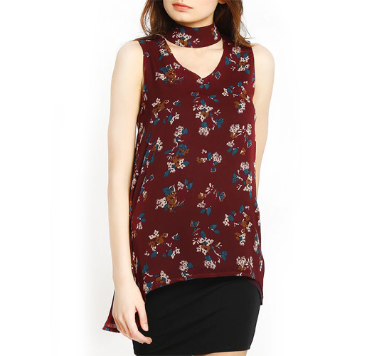 Maroon Printed Assymmetric Top