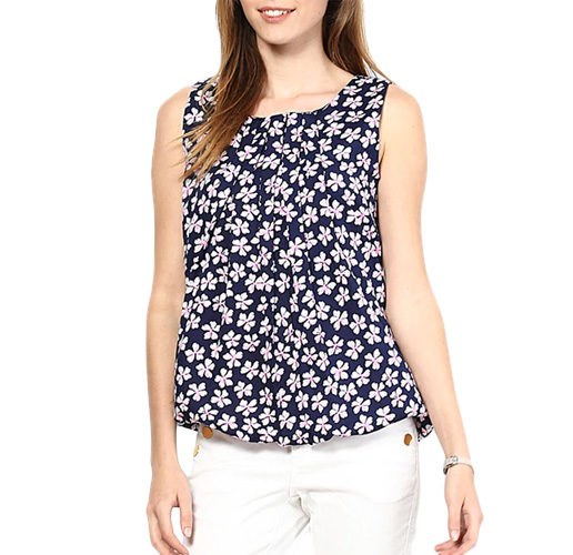 Navy Blue Floral Printed Top